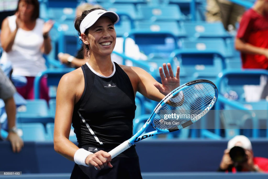 Garbine Muguruza of Spain celebrates after defeating Karolina Pliskova of Czech Republic during Day 8 of the Western and Southern Open at the Linder Family Tennis Center on August 19, 2017 in Mason, Ohio.