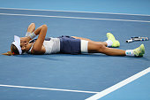 Garbine Muguruza of Spain celebrates after winning the Womens Final against Timea Bacsinszky of Switzerland on day 9 of the 2015 China Open at the...