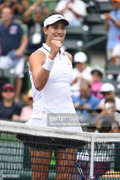 Garbine Muguruza of Spain celebrates against Christina McHale of USA at Crandon Park Tennis Center on March 24 2017 in Key Biscayne Florida