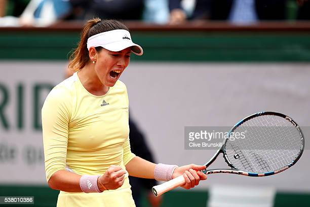 Garbine Muguruza of Spain celebrates during the Ladies Singles final match against Serena Williams of the United States on day fourteen of the 2016...