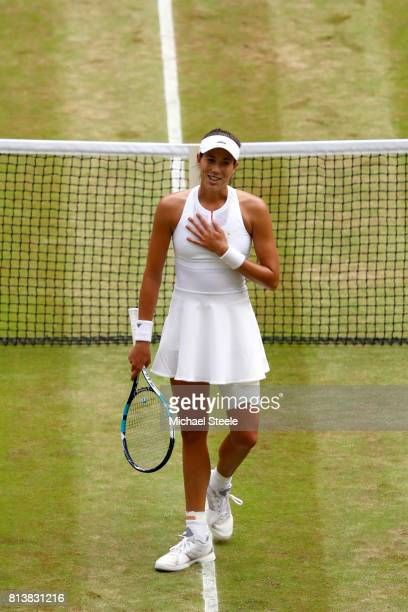 Garbine Muguruza of Spain celebrates match point and victory during the Ladies Singles semi final match against Magdalena Rybarikova of Slovakia on...