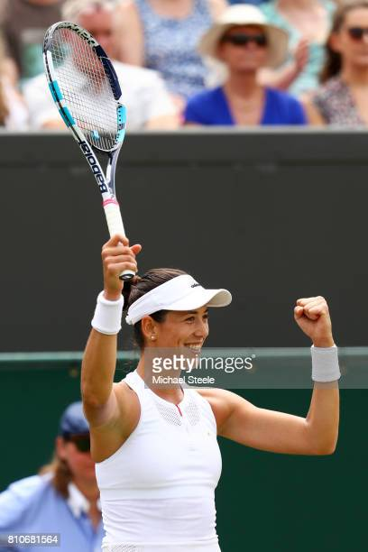 Garbine Muguruza of Spain celebrates victory after the Ladies Singles third round match against Sorana Cirstea of Romania on day six of the Wimbledon...