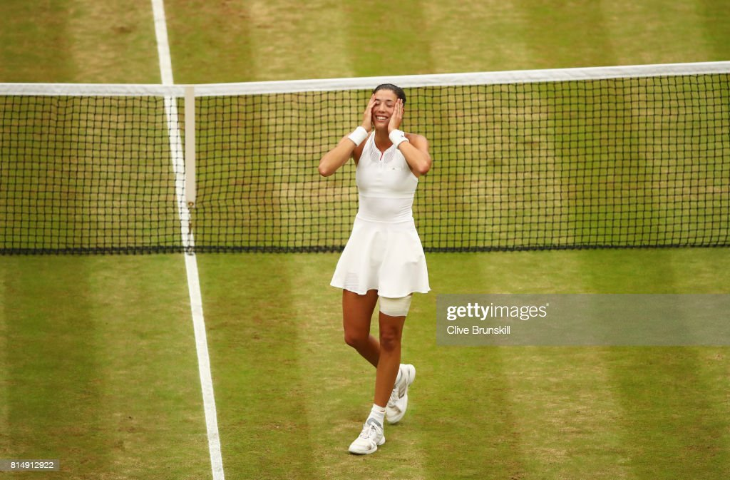 Garbine Muguruza of Spain celebrates victory after the Ladies Singles final against Venus Williams of The United States on day twelve of the Wimbledon Lawn Tennis Championships at the All England Lawn Tennis and Croquet Club at Wimbledon on July 15, 2017 in London, England.