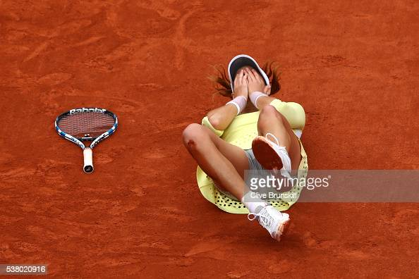 Garbine Muguruza of Spain celebrates victory during the Ladies Singles final match against Serena Williams of the United States on day fourteen of...