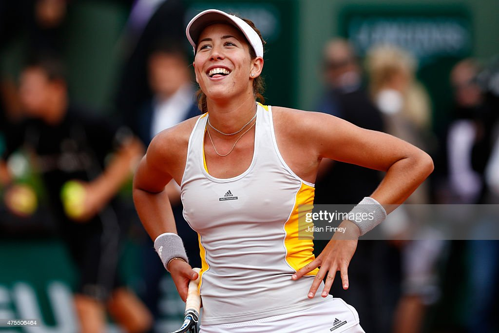 Garbine Muguruza of Spain celebrates victory in her Women's Singles match against Flavia Pennetta of Italy on day nine of the 2015 French Open at Roland Garros on June 1, 2015 in Paris, France.