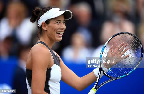 Garbine Muguruza of Spain celebrates winning the second round match against Alison Riske of The USA on day four of The Aegon Classic Birmingham at...