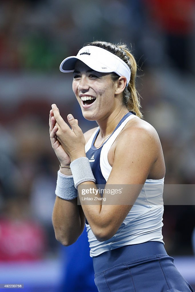 Garbine Muguruza of Spain celebrates winning the Women's Single Final match against Timea Bacsinszky of Switzerland on day 9 of the 2015 China Open at the China National Tennis Centre on October 11, 2015 in Beijing, China.