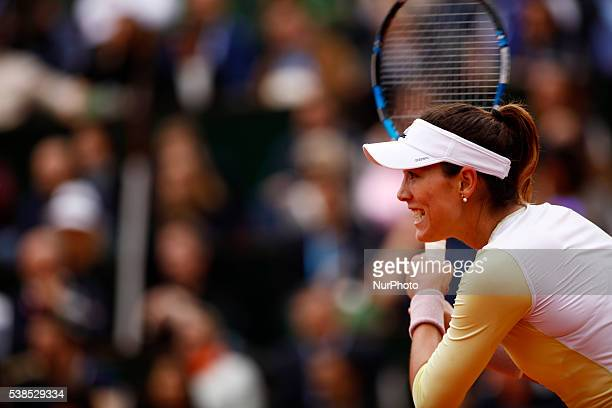 Garbine Muguruza of Spain during the Ladies Singles final match against Serena Williams of the United States on day fourteen of the 2016 French Open...
