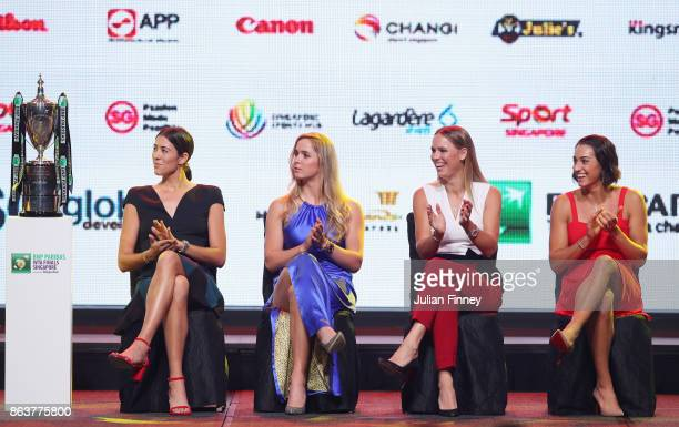 Garbine Muguruza of Spain Elina Svitolina of Ukraine Caroline Wozniacki of Denmark and Caroline Garcia of France applaud on stage during the Official...