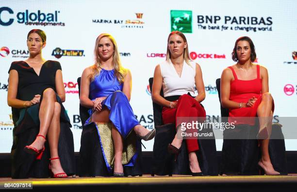 Garbine Muguruza of Spain Elina Svitolina of Ukraine Caroline Wozniacki of Denmark and Caroline Garcia of France look on during the Official Draw...