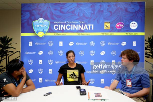 Garbine Muguruza of Spain fields questions from the media during day 3 of the Western Southern Open at the Lindner Family Tennis Center on August 14...