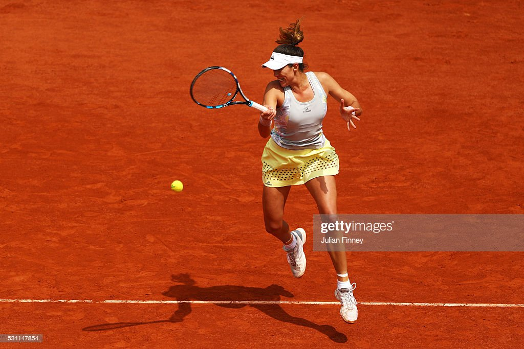 Garbine Muguruza of Spain hits a forehand during the Ladies Singles second round match against Myrtille Georges of France at Roland Garros on May 25, 2016 in Paris, France.