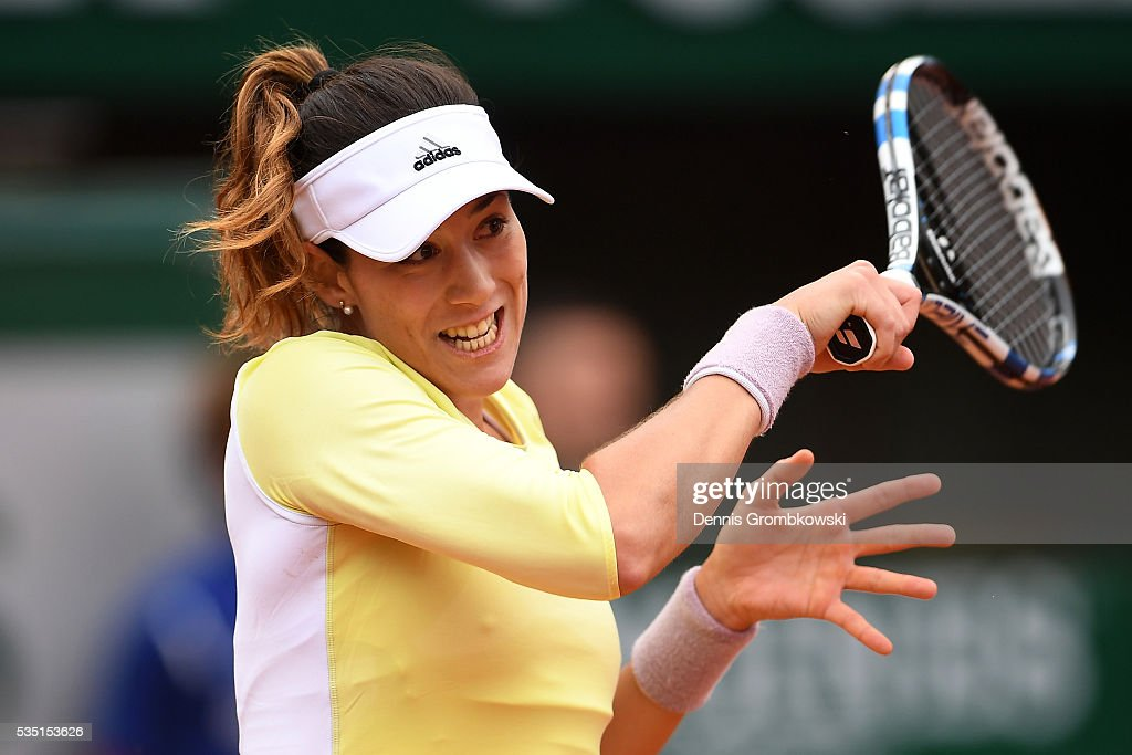 Garbine Muguruzu of Spain hits a forehand during the Ladies Singles fourth round match against Svetlana Kuznetsova of Russia on day eight of the 2016 French Open at Roland Garros on May 29, 2016 in Paris, France.