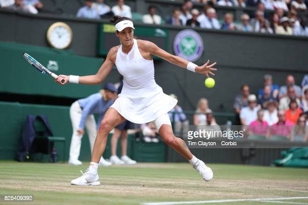 Garbine Muguruza of Spain in action against Magdalena Rybarikova of Slovakia in the Ladies Singles Semi Final match during the Wimbledon Lawn Tennis...