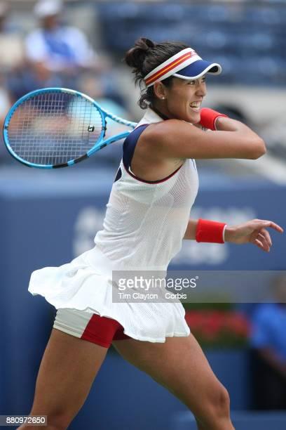 S Open August 28 DAY ONE Garbine Muguruza of Spain in action against Varvara Lepchenko of the United States on Arthur Ashe Stadium during the Women's...
