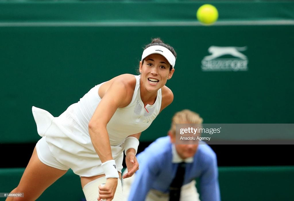 Garbine Muguruza of Spain in action against Venus Williams of USA (not pictured) during the Women's Final of the 2017 Wimbledon Championships at the All England Lawn and Croquet Club in London, United Kingdom on July 15 2017.