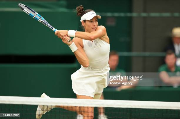 Garbine Muguruza of Spain in action against Venus Williams of USA during the Women's Final of the 2017 Wimbledon Championships at the All England...