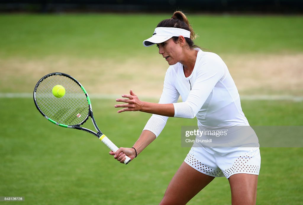 Garbine Muguruza of Spain in action during a practice session prior to the Wimbledon Lawn Tennis Championships at the All England Lawn Tennis and Croquet Club on June 26, 2016 in London, England.
