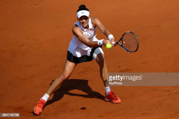 Garbine Muguruza of Spain in action during the women's third round match against Julia Goerges of Germany on Day Five of the Internazionali BNL...