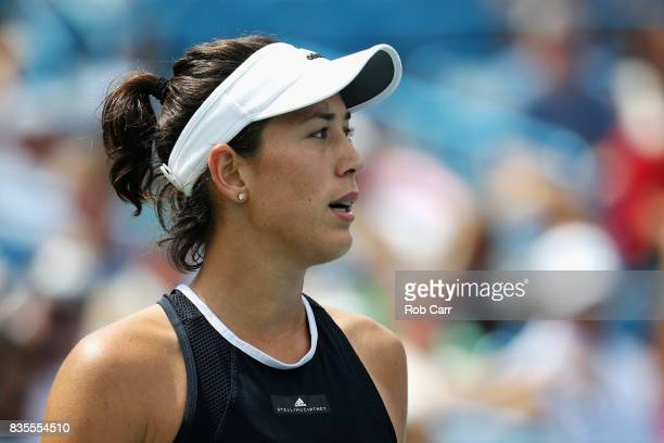 Garbine Muguruza of Spain looks on against Karolina Pliskova of Czech Republic during Day 8 of the Western and Southern Open at the Linder Family...