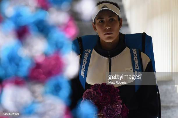 Garbine Muguruza of Spain looks on prior to her match against Monica Puig of Puerto Rico during day three of the Toray Pan Pacific Open Tennis At...