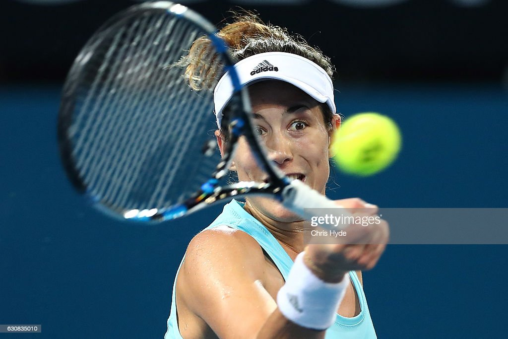 Garbine Muguruza of Spain plays a forehand during her match against Daria Kasatkina of Russia on day three of the 2017 Brisbane International at Pat Rafter Arena on January 3, 2017 in Brisbane, Australia.