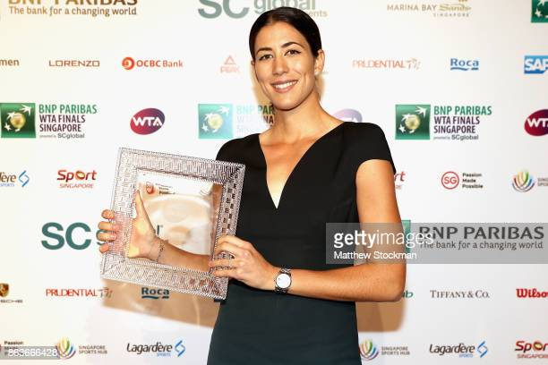 Garbine Muguruza of Spain poses with the 2017 WTA Player of the Year award during the Official Draw Ceremony and Gala of the BNP Paribas WTA Finals...