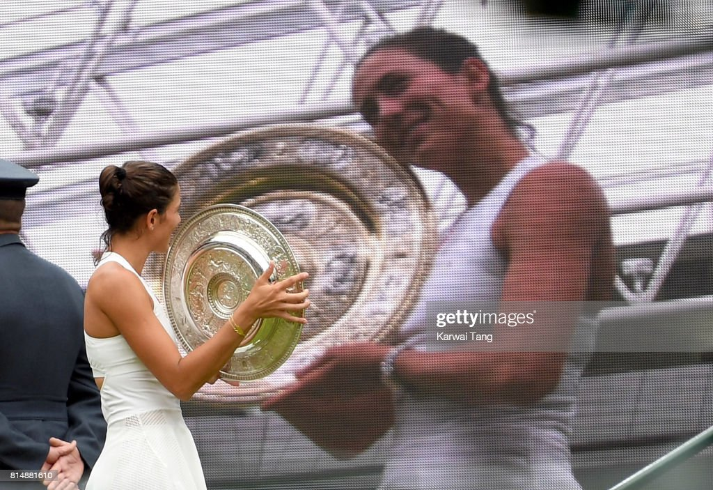 Garbine Muguruza of Spain poses with The Venus Rosewater Dish after winning the Ladies Singles final against Venus Williams of The United States on day twelve of the Wimbledon Tennis Championships at the All England Lawn Tennis and Croquet Club on July 15, 2017 in London, United Kingdom.
