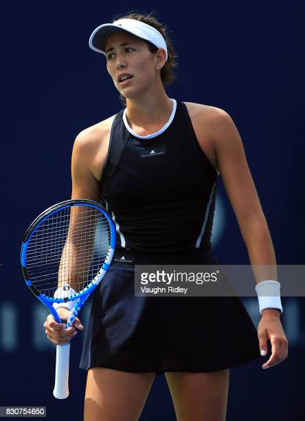 Garbine Muguruza of Spain reacts after a lost point against Elina Svitolina of Ukraine during a quarterfinal match on Day 8 of the Rogers Cup at...