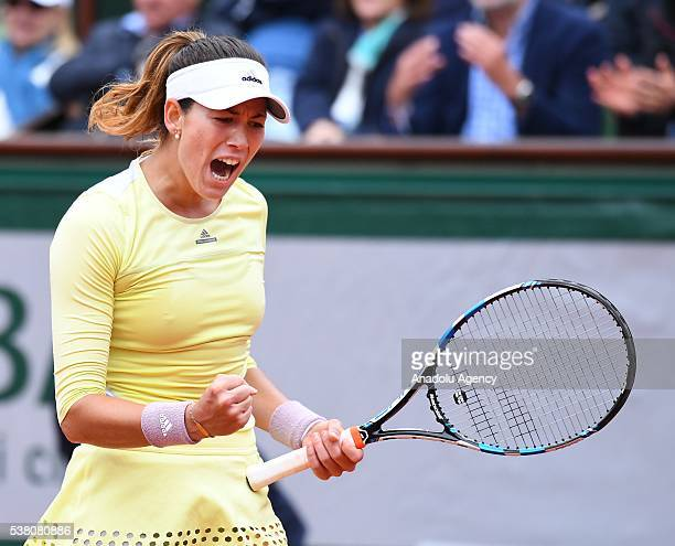 Garbine Muguruza of Spain reacts after a point against Serena Williams of the USA during women's single final match at the French Open tennis...