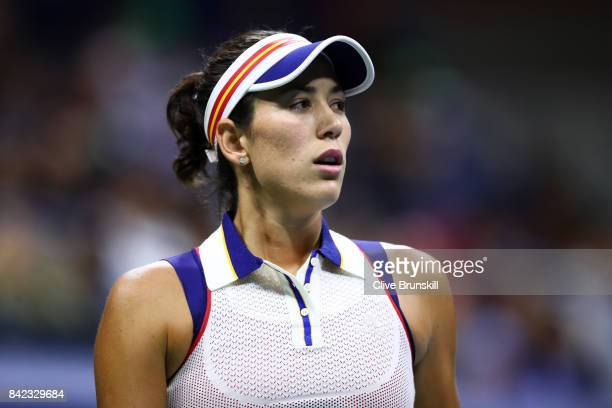 Garbine Muguruza of Spain reacts during her women's singles fourth round match against Petra Kvitova of Czech Republic on Day Seven of the 2017 US...