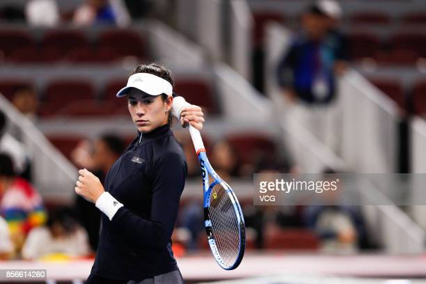 Garbine Muguruza of Spain reacts during the Women's singles first round match against Barbora Strycova of Czech Republic on day three of 2017 China...