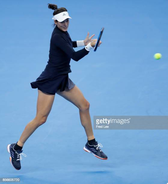 Garbine Muguruza of Spain returns a shot against Barbora Strycova of Czech Republic on day three of the 2017 China Open at the China National Tennis...