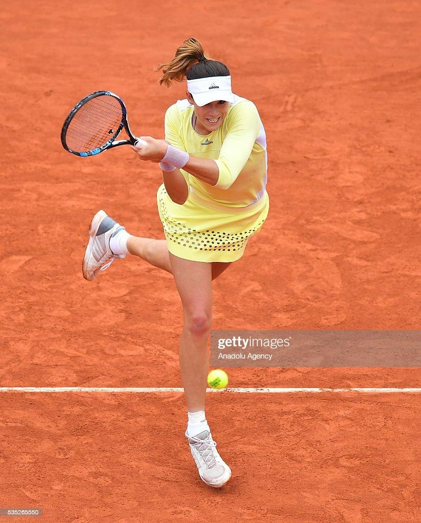 Garbine Muguruza of Spain returns to Svetlana Kuznetsova (not seen) of Russia during the women's single fourth round match at the French Open tennis tournament at Roland Garros Stadium in Paris, France on May 29, 2016.