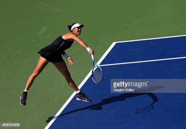 Garbine Muguruza of Spain serves against Kirsten Flipkens of Belgium during Day 5 of the Rogers Cup at Aviva Centre on August 9 2017 in Toronto Canada