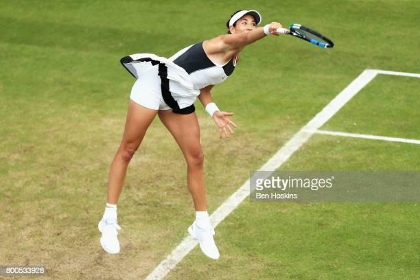 Garbine Muguruza of Spain serves during her semi final match against Ashleigh Barty day six of the Aegon Classic Birmingham at Edgbaston Priory Club...