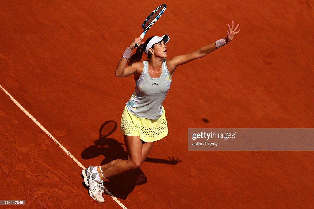 Garbine Muguruza of Spain serves during the Ladies Singles second round match against Myrtille Georges of France at Roland Garros on May 25, 2016 in Paris, France.