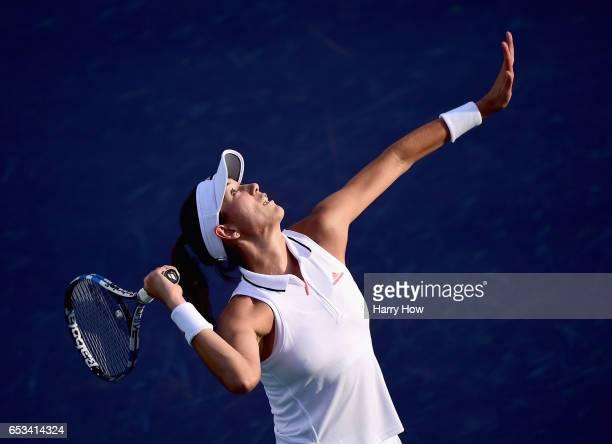 Garbine Muguruza of Spain serves in her win over Elina Svitolina of Ukraine during the BNP Paribas Open at Indian Wells Tennis Garden on March 14...