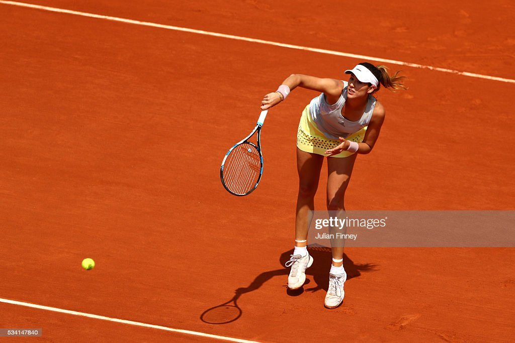 Garbine Muguruza of Spain smashes during the Ladies Singles second round match against Myrtille Georges of France at Roland Garros on May 25, 2016 in Paris, France.