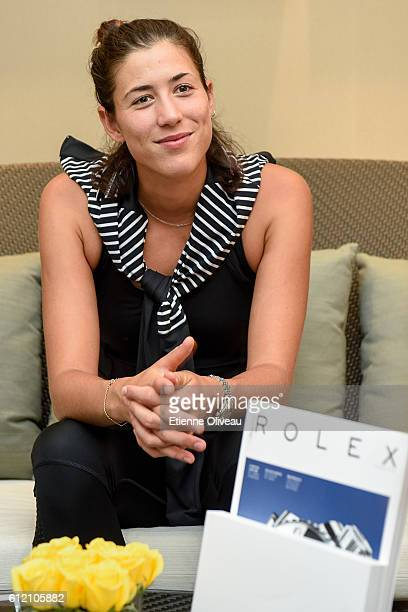 Garbine Muguruza of Spain takes an interview at the Rolex Skybox on day three of the 2016 China Open at the National Tennis Centre on October 3 2016...