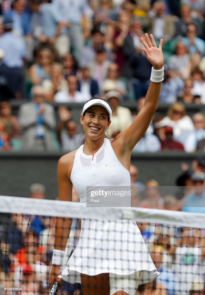 Garbine Muguruza of Spain victory after the Ladies Singles semi final match against Magdalena Rybarikova of Slovakia on day ten of the Wimbledon Lawn Tennis Championships at the All England Lawn Tennis and Croquet Club at Wimbledon on July 13, 2017 in London, England.