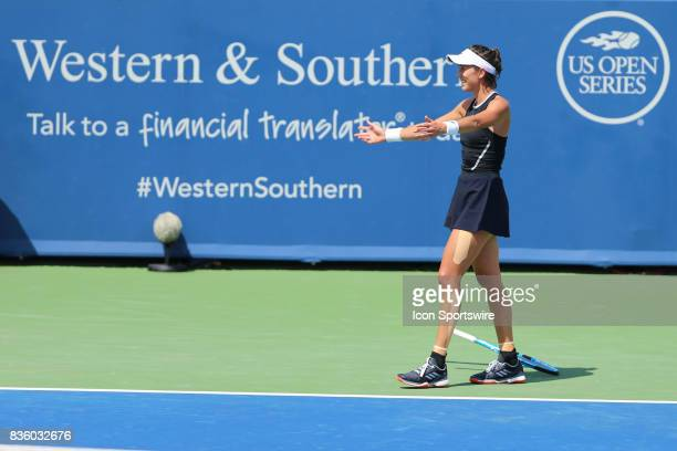 Garbine Muguruza reacts after winning the championship match against Simona Halep During the Western Southern Open at the Lindner Family Tennis...