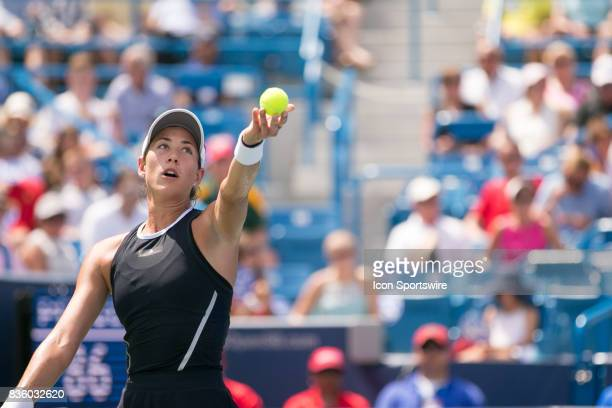 Garbine Muguruza serves during the championship match against Garbine Muguruza and Simona Halep at the Western Southern Open at the Lindner Family...