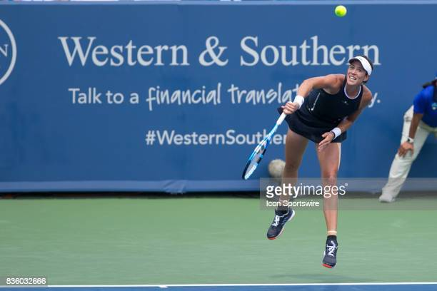 Garbine Muguruza serves during the championship match against Simona Halep During the Western Southern Open at the Lindner Family Tennis Center in...