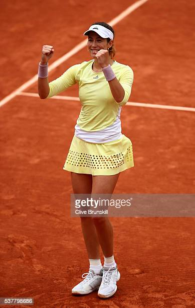 Garbine Muguruzu of Spain ccelebrates victory during the Ladies Singles semi final match against Samantha Stosur of Australia on day thirteen of the...