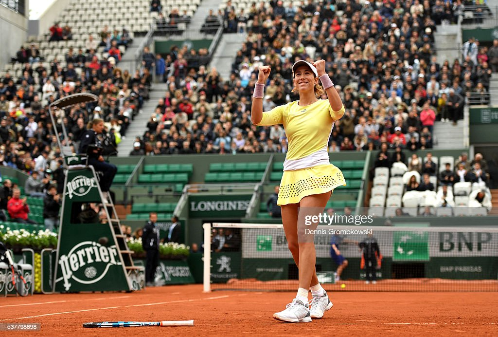 Garbine Muguruzu of Spain celebrates victory during the Ladies Singles semi final match against Samantha Stosur of Australia on day thirteen of the 2016 French Open at Roland Garros on June 3, 2016 in Paris, France.
