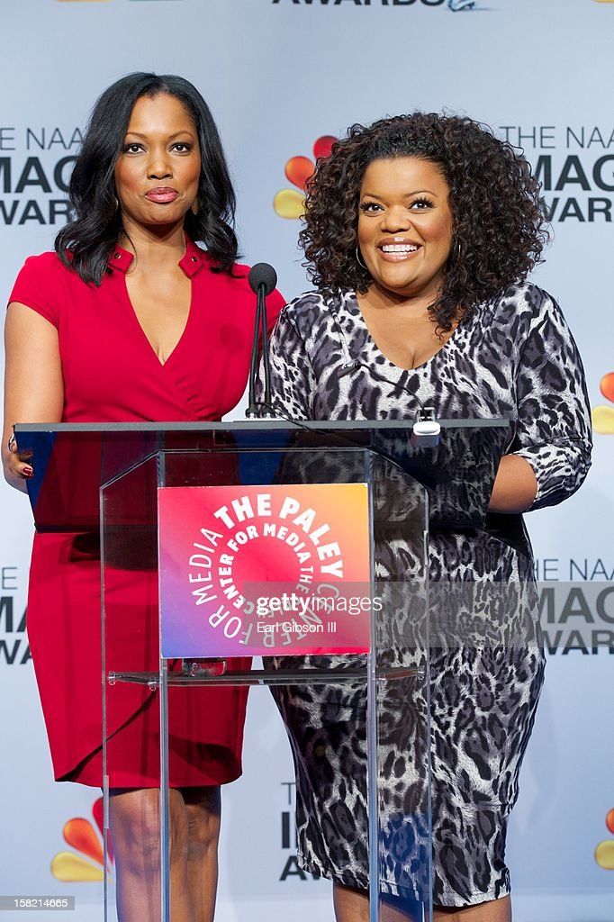<a gi-track='captionPersonalityLinkClicked' href=/galleries/search?phrase=Garcelle+Beauvais&family=editorial&specificpeople=203112 ng-click='$event.stopPropagation()'>Garcelle Beauvais</a> and Yvette Nicole-Brown announce the nominees at the 44th NAACP Image Awards Press Conference at The Paley Center for Media on December 11, 2012 in Beverly Hills, California.