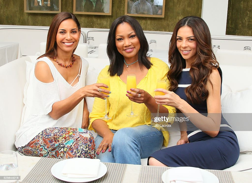 Garcelle Beauvais, Salli Richardson and Terri Seymour are seen taping Hollywood Today Live! for Mother's Day at Fig & Olive Melrose Place on April 28, 2016 in West Hollywood, California.