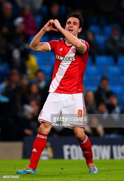 Garcia Kike of Middlesbrough celebrates after scoring his team's second goal during the FA Cup Fourth Round match between Manchester City and...