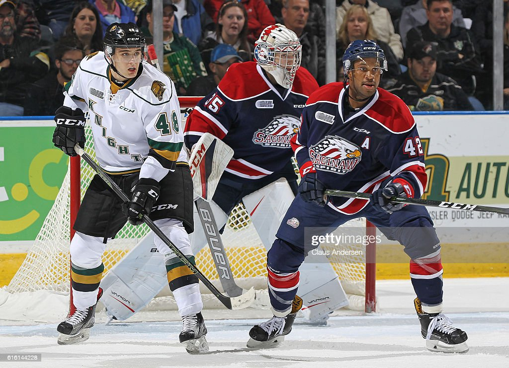 C.J. Garcia #42 of the Saginaw Spirit defends against Sam Miletic #48 of the London Knights during an OHL game at Budweiser Gardens on October 21, 2016 in London, Ontario, Canada. The Knights defeated the Spirit 5-1.